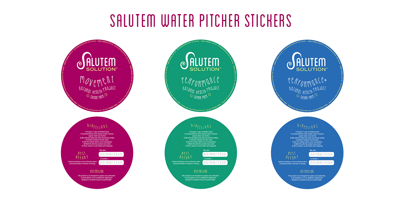 Salutem water pitcher stickers