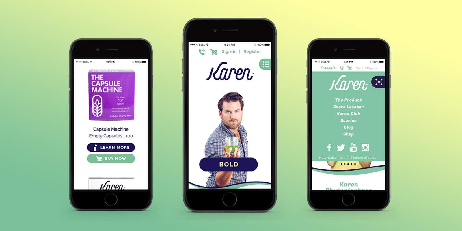 Karen website on mobile