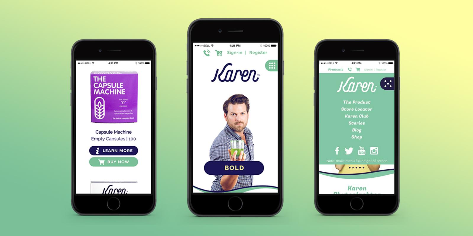Karen website on mobile