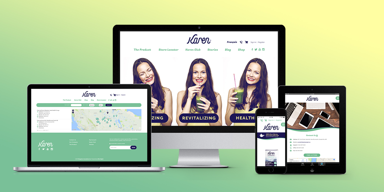 Karen website on different devices
