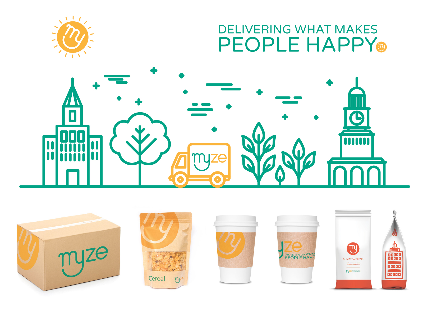 Myze packaging and illustration